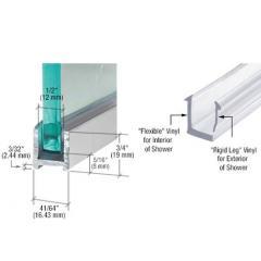 Aluminium U-Profil mit Vinyl 19 x 16,5mm für Trockenverglasung von 8mm Glas, hochglanzeloxiert, Länge 2400mm