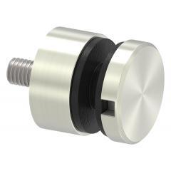 Glas-Punkthalter ø 30mm für Glas 6,0-12,76mm, flacher Anschluss, Zinkdruckguss Edelstahleffekt