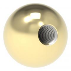 Messingkugel aus V2A Edelstahl massiv, Messing beschichtet, ø 12mm, mit M4 Gewinde