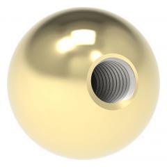 Messingkugel aus V2A Edelstahl massiv, Messing beschichtet, ø 15mm, mit M5 Gewinde