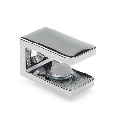 Glashalter eckig, 15 x 27mm, für 6-10 mm Glas, Zink glanzverchromt