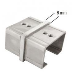 Rohrverbinder für Glasleistenrohr 60 x 40 x 1,5mm, V2A geschliffen