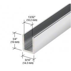 Tiefes Aluminium U-Profil 19 x 14mm, für Festteile - für 10mm Glas, hochglanzeloxiert, Länge 2,41 m (95