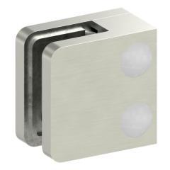 Glasklemme Modell 11, flacher Anschluss, Zinkdruckguss Edelstahleffekt für 6,00mm Glas
