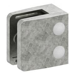 Glasklemme Modell 14, flacher Anschluss, Zinkdruckguss roh für 12,00mm Glas