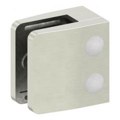 Glasklemme Modell 14, flacher Anschluss, Zinkdruckguss Edelstahleffekt für 10,76mm Glas