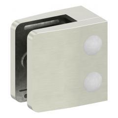 Glasklemme Modell 14, flacher Anschluss, Zinkdruckguss Edelstahleffekt für 12,00mm Glas