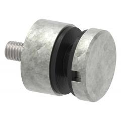 Glas-Punkthalter ø 30mm für Glas 6,0-12,76mm, flacher Anschluss, Zinkdruckguss roh