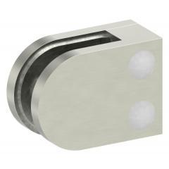 Glasklemme Modell 12, flacher Anschluss, Zinkdruckguss Edelstahleffekt für 6,00mm Glas
