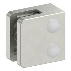 Glasklemme Modell 31, mit AbZ, flacher Anschluss, Zinkdruckguss Edelstahleffekt, für 6,00mm Glas