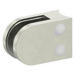 Glasklemme Modell 32, mit AbZ, Anschluss für ø 33,7mm Rohr, Zinkdruckguss Edelstahleffekt, für 8,00mm Glas