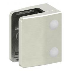 Glasklemme Modell 35, mit AbZ, flacher Anschluss, Zinkdruckguss Edelstahleffekt für 12,00mm Glas