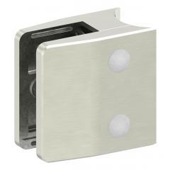 Glasklemme Modell 35, mit AbZ, Anschluss für ø 42,4mm Rohr, Zinkdruckguss Edelstahleffekt, für 12,00mm Glas