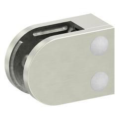 Glasklemme Modell 38, mit AbZ, flacher Anschluss, Zinkdruckguss Edelstahleffekt, für 10,00mm Glas