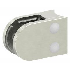 Glasklemme Modell 38, mit AbZ, Anschluss für ø 33,7mm Rohr, Zinkdruckguss Edelstahleffekt, für 8,00mm Glas
