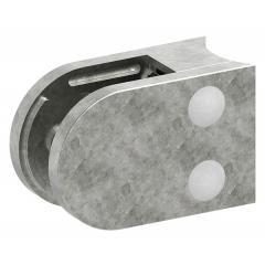 Glasklemme Modell 38, mit AbZ, Anschluss für ø 76,3mm Rohr, Zinkdruckguss Edelstahleffekt, für 12,00mm Glas