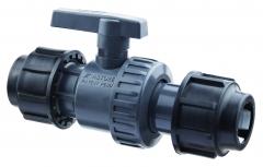 PVC-Kugelventil mit 2 Verschraub./ 25mm